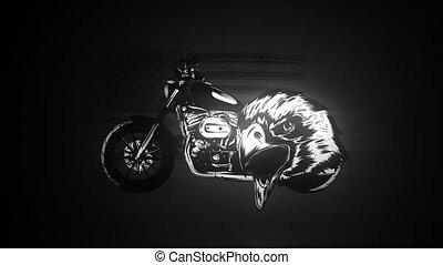 motocyclette, tête, aigle