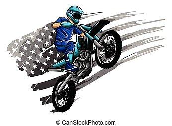 motocyclette, -, vecteur, motocross, cavalier, illustration