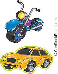 motocyclette, voiture