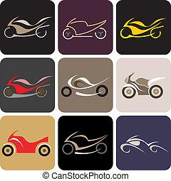 motocyclettes, -, couleur, vecteur, icônes