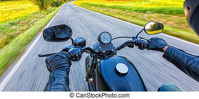 motocykl, kierowca, jeżdżenie, na, motorway