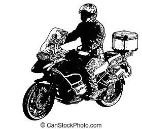 motocyklista, ilustracja