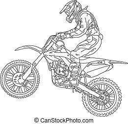 motokrossz, ábra, körvonal, vektor, motorcycle., lovas