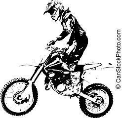 motokrossz, championship., vektor, participates, lovas, ábra
