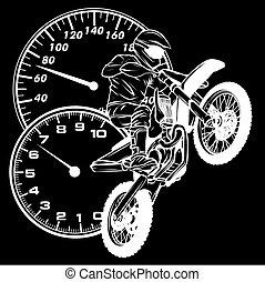 motokrossz, lovas, árnykép, fekete, vektor, háttér