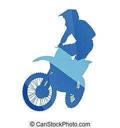 motokrossz, ugrál, levegő, vektor, árnykép, lovas