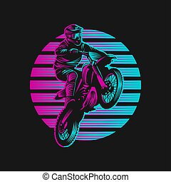 motokrossz, vektor, napnyugta, retro, ábra