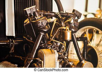 motor, årgång, närbild, bil