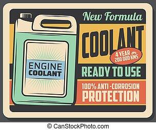 motor, affisch, kylmedel, retro, underhåll, bil