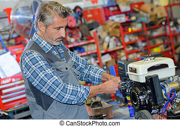 motor, afixando, mecânico, lawnmower