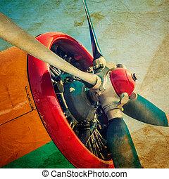 motor, airplane, gammal
