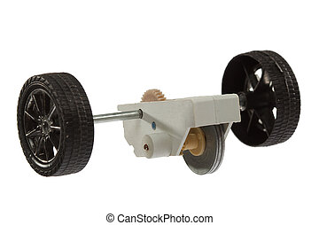 Motor and wheel of the toy car, isolated on white background