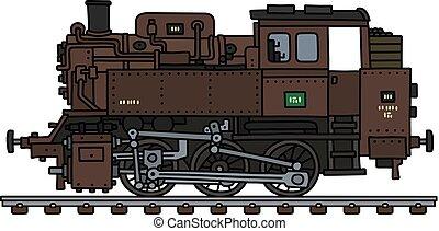 motor, antigas, tanque, locomotiva, vapor