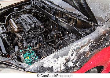 motor, auto, gebrande