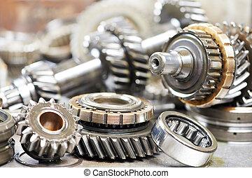 motor, automóvil, primer plano, engranajes