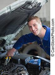motor, automechaniker, arbeitende