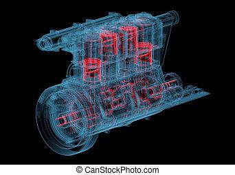 motor, azul, combustión, (3d, transparent), radiografía, ...