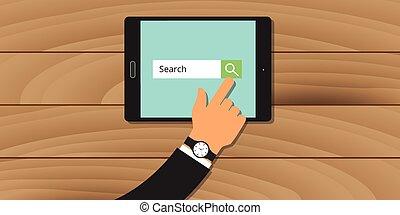 motor, búsqueda, analytics, tableta, mano, tela, buscando