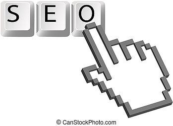 motor, búsqueda, llaves, clics, mano, cursor, optimization, seo, pixel