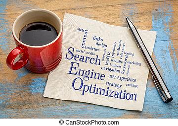 motor, búsqueda, optimization, palabra, nube