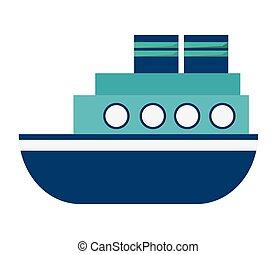 motor, barco, icono