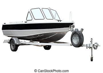 motor, barco, remolque