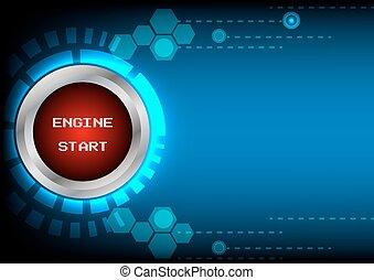 motor, begin knop, technologie, abstrack