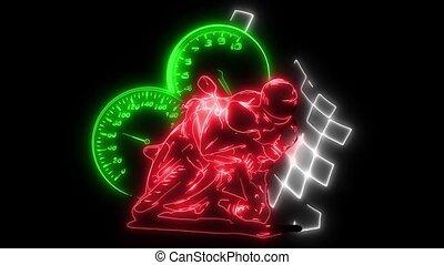 Motor bike racing with rider laser animation - Motor bike...