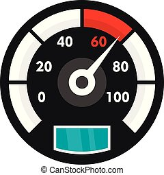 Motor bike speedometer icon, flat style - Motor bike...