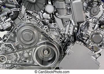 motor, bil, bälte, specificera, utrustar