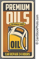 motor, bil, bil, oils., vektor, retro, affisch, lager