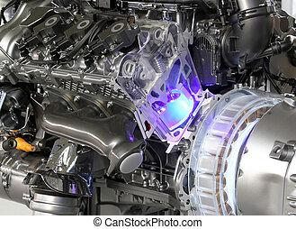 motor, bil, hybrid, v6, mäktig
