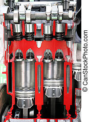 motor, bil, kolvar, ventilen