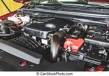 motor, bil, specificera