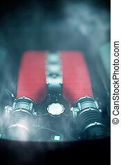 motor, bil, sports, glas, baksida, under, trunk.