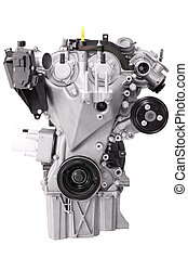 motor, bil, vit, isolerat