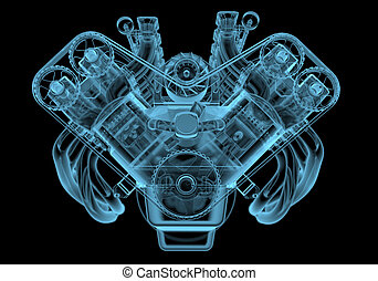 motor, blå bil, isolerat, svart, transparent, röntga
