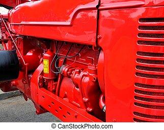 motor, blanka röda, traktor