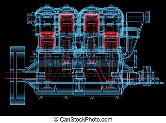 motor, blauwe , verbranding, (3d, transparent), xray, intern...