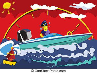 Motor Boat - Abstract vector illustration of a speed motor ...
