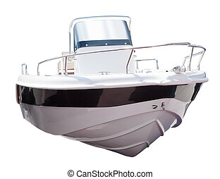 motor, boat., aislado, encima, blanco