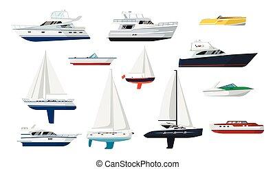 Motor boat and sailboat set - Motorboat and sailboat side ...