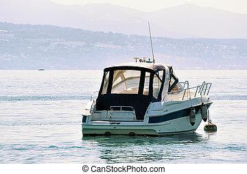 Motor boat at Geneva Lake in Lausanne