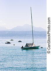 Motor boat at Lake Geneva in Lausanne