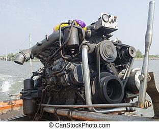 Motor boat engine to propel a ship at sea.