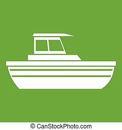 Motor boat icon green