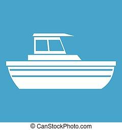 Motor boat icon white