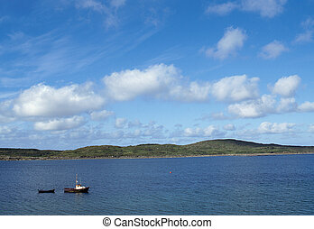 Motor boat in Ireland and blue sky - Black Motor boat in...