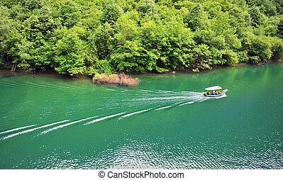 Motor boat in the lake