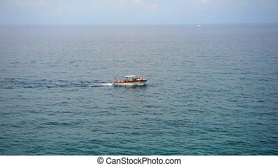 motor boat on a sea. 1920 on 1080 video for your design